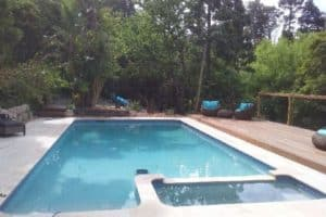 A pool renovation completed in Harkaway, including a spa