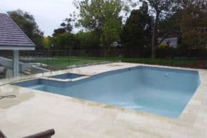 A pool renovation in Mount Eliza, with new tiles surrounding the pool