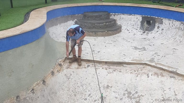 Mt Eliza pool renovation final high pressure wash before applying prep coat